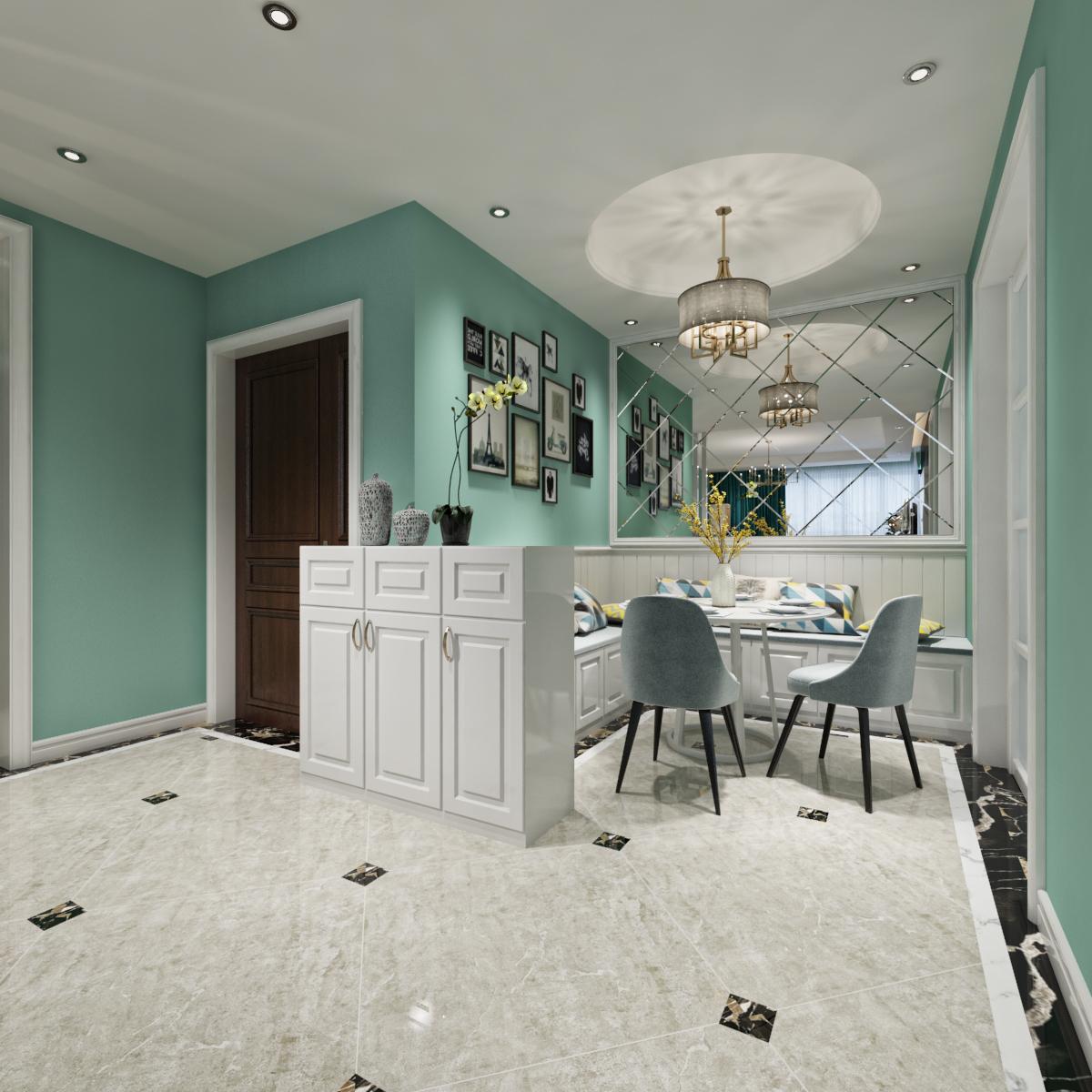 120平米现代美式风格效果图 清蓝之色