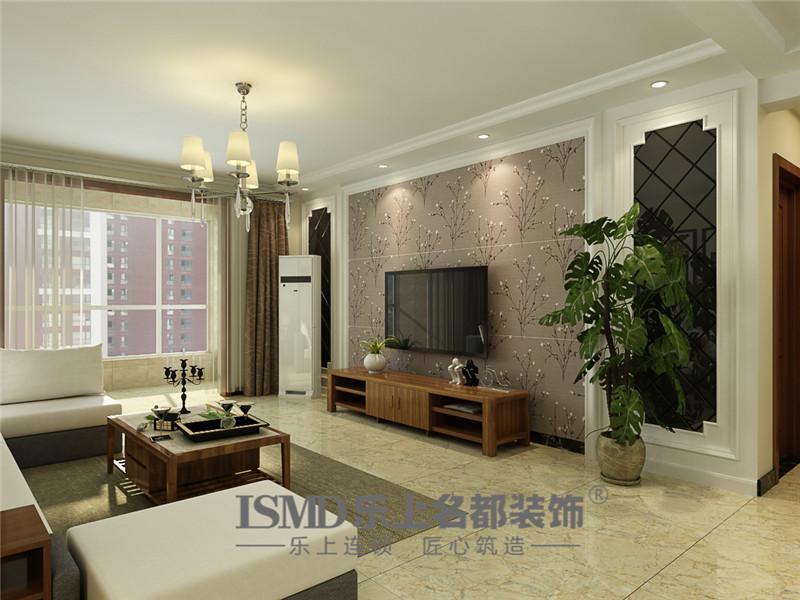 电视墙采用壁纸及石膏线,茶镜的搭配,色调整体比较稳重